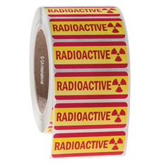 "RADIOACTIVE warning labels (permanent) - 2.72"" x 1"" #L-004-1P"