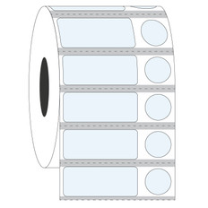"Cryo & Autoclave-Resistant Clear Labels - 1.25"" x 0.5"" + 0.437"" #GAN-158 Black Mark"