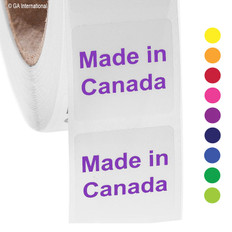 "Made in Canada - Oil-proof country of origin labels - 1"" x 1"" #ABA-1006"