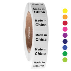 "Made in China  - Oil-proof country of origin labels - 1"" x 1"" #ABA-1008"