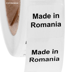 "Made in Romania - Oil-proof country of origin labels - 1"" x 1"" #ABA-1029"