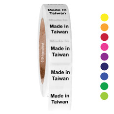 "Made in Taiwan - Oil-proof country of origin labels - 1"" x 1"" #ABA-1034"