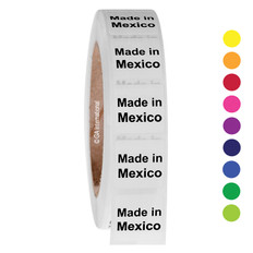 "Made in Mexico -  Oil-proof country of origin labels - 1"" x 1"" #ABA-1023"