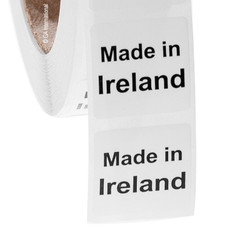"Made in Ireland - Oil-proof country of origin labels - 1"" x 1"" #ABA-1019"