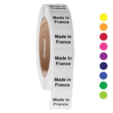 "Made in France - Oil-proof country of origin labels - 1"" x 1"" #ABA-1014"