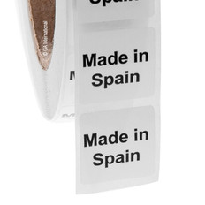 "Made in Spain - Oil-proof country of origin labels - 1"" x 1"" #ABA-1032"
