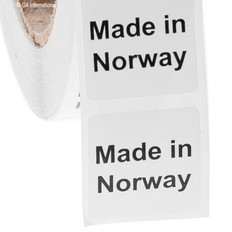 "Made in Norway -  Oil-proof country of origin labels - 1"" x 1"" #ABA-1027"