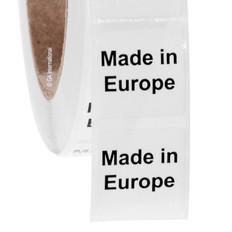 "Made in Europe - Oil-proof country of origin labels - 1"" x 1"" #ABA-1012"