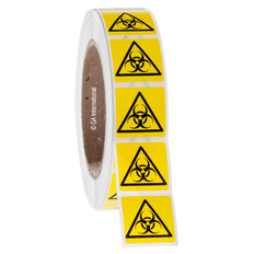 "BIOHAZARD warning labels 1.125"" x 1.125"" #WL-007"