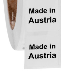 "Made in Austria - Oil-proof country of origin labels - 1"" x 1"" #ABA-1004"