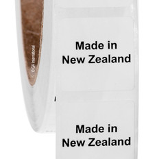 "Made in New Zealand - Oil-proof country of origin labels - 1"" x 1"" # #ABA-1026"