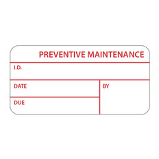 "Self-Laminating Calibration Labels - 1"" x 2.125"" - PREVENTIVE MAINTENANCE - #CAL-008-1R"