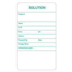 "Self-Laminating Calibration Labels - 3.5"" x 2"" - SOLUTION - #CALA-005-0.25R"