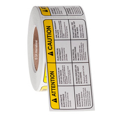 """CAUTION"" Electrical Warning Label - 3.25"" x 6.875"" #EL-002-0.5"