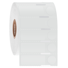 "Transparent Cryo & Autoclave-Resistant Thermal-Transfer Labels - 1.25"" x 0.5"" + 0.437"" Circle  #GANA-158NOT"