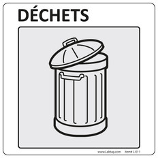 "Warning Labels for General Laboratory Use ""Déchets"" - 4"" x 4""  #L-011-0.1P"
