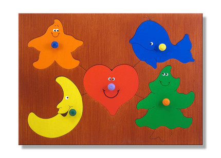 A great shape puzzle with 5 new friends for your beginning puzzler!