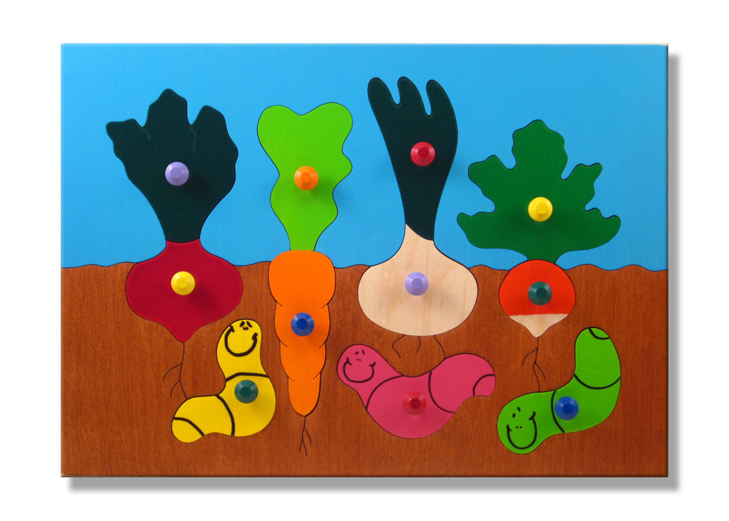 Wooden Knob Puzzles Gardening With Worms Wooden Puzzle