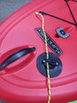 Mounted on a sporty paddle board SUP with smooth surface Peel-and-stick VHB adhesive keeps the cleat fastened to the deck