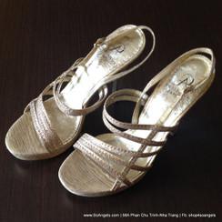 Adrianna Papell Sandals Cao Gót Dây Ánh Bạc-38.5