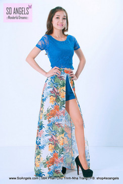 ILOVEWF Váy Short Hoa