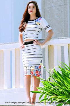 Glamour Babe Set Áo Váy Trắng Hoa