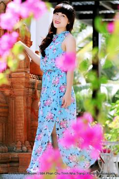 Fee Red Đầm Maxi Xanh Hoa
