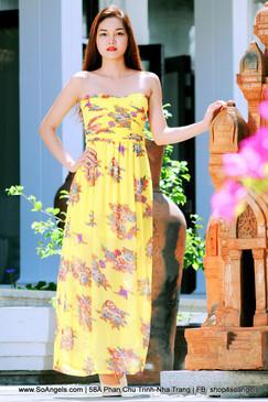Gaffith Đầm Maxi Ống Vàng Hoa