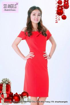 ILOVEWF Đầm Body Đỏ Cam Vai Ngang