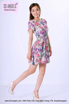ILOVEWF Đầm Hoa Hồng Tím