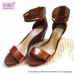 Jessica Simpson Sandals Cao Gót Dây Ánh Đồng-38