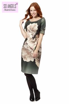 Betty Jackson Đầm Xanh Rêu Hoa Hồng