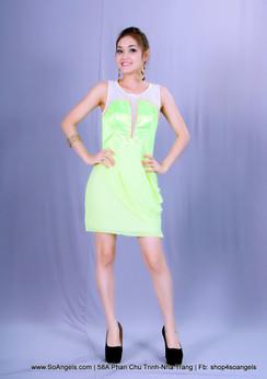 Gianni Bini Đầm Neon Xanh Voan Trắng