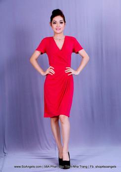 Antonio Melani Đầm Hồng Thun Cổ Tim