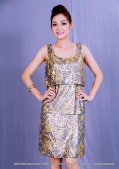 Antonio Melani Đầm Cườm Vàng Xám