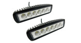 "MINI LIGHT BAR 6"" 18 WATT 6 X 3 WATT CHIPS FLOOD BEAM  ** 2 PACK **"