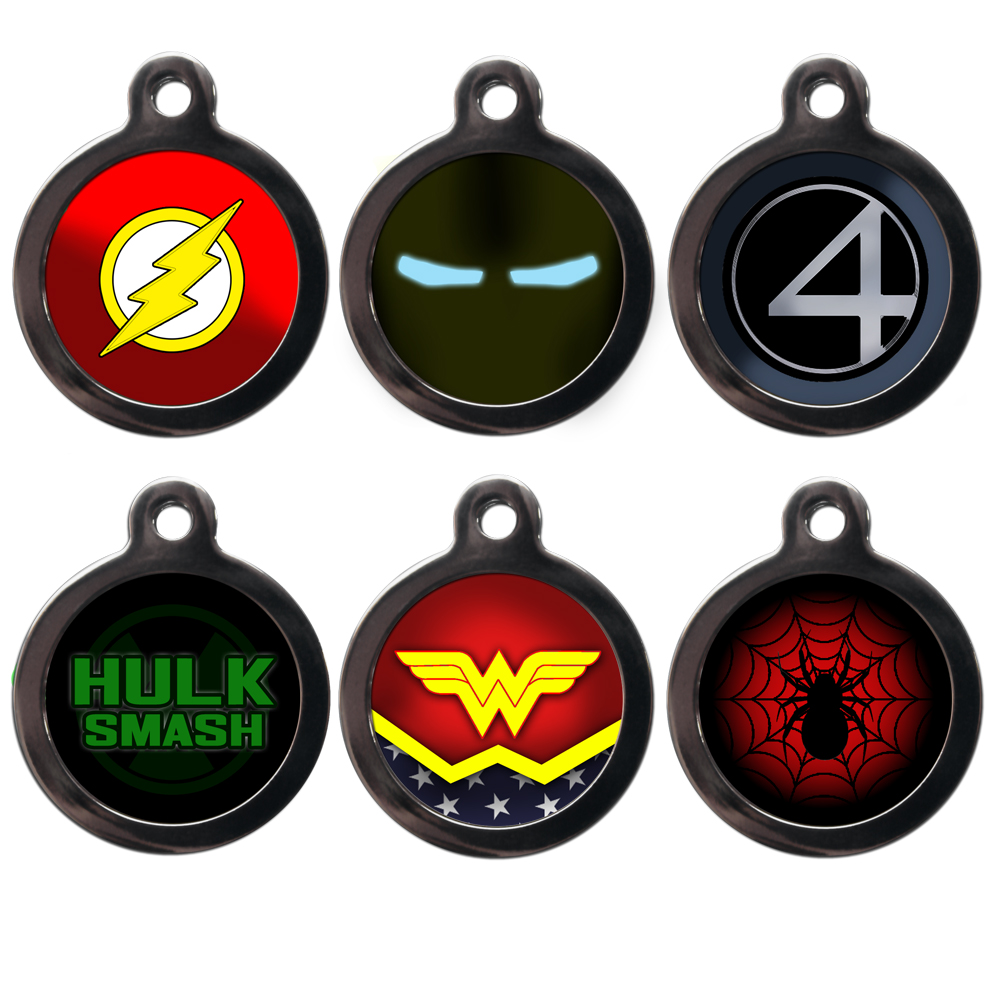 super hero dog id tags in cartoon category