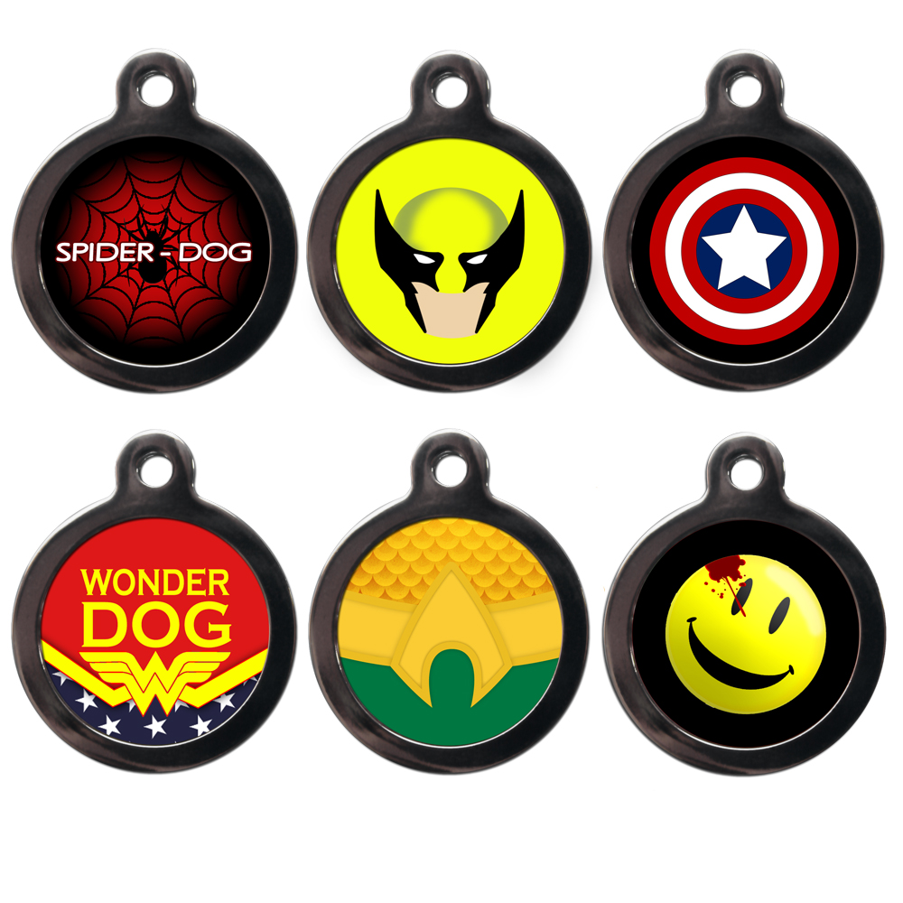 super hero tags for dogs in cartoon category