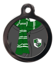 Green and Silver Scarf Dog ID Tag