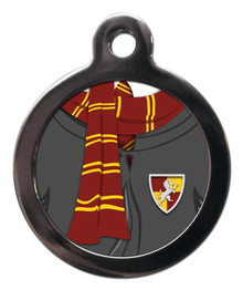 Red and Gold Scarf Pet ID Tag - Gryffindor Harry Potter Style Dog Cat Tags