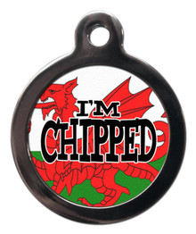 I'm chipped the red dragon tag for dogs