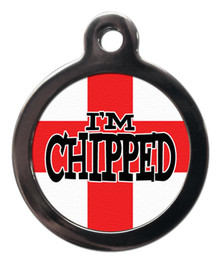 I'm chipped st George flag dog dog tag