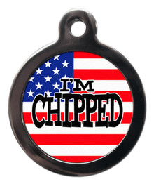 I'm chipped stars and stripes Tag for Dogs