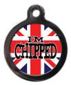 I'm chipped union jack pet Tag