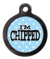 I'm chipped blue polka dot Pet Tag