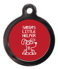 Red Santa's Little Helper ID Tag For Dogs