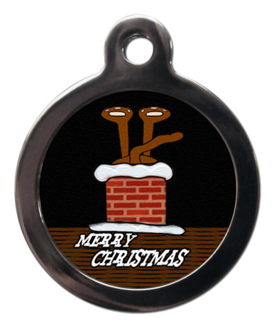 Stuck In Chimney Christmas Tag For Dog