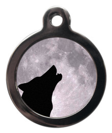 Howling Wolf And Moon Dog Tag For Dogs
