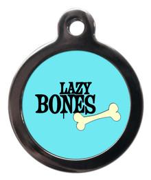 Blue Lazy Bones Dog Tag