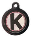 Pet ID Tags with the letter K on it
